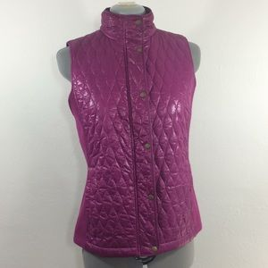 Talbots magenta color puff vest w/stretch side-XS